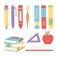 School material icon set vector
