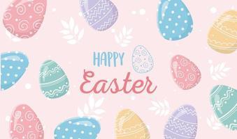 banner de feliz celebración de pascua con huevos vector