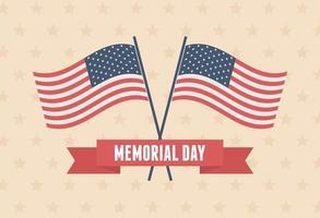 Memorial Day celebration flag badge vector