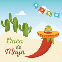 elementos mexicanos para la celebración del cinco de mayo vector
