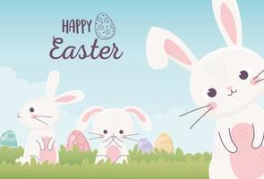 feliz celebración de banner de pascua con conejitos y huevos vector