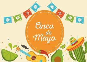 Mexican elements for Cinco de Mayo celebration banner vector