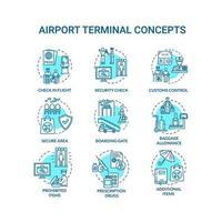 Conjunto de iconos de concepto de terminal de aeropuerto