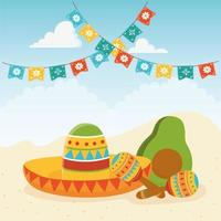 Festive sombrero with maracas and avocado vector