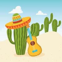 Cute cactus with sombrero and acoustic guitar vector