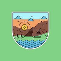 Monoline landscape badge design