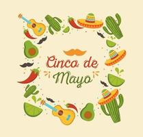 Mexican elements for Cinco de Mayo celebration banner