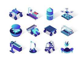 Conjunto de iconos isométricos de robotización agrícola vector