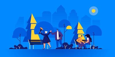 Romantic couples on evening date in park vector