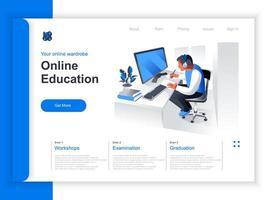 página de inicio isométrica de educación en línea vector