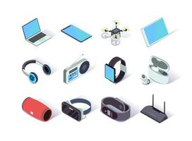 Devices and gadgets isometric icons set vector