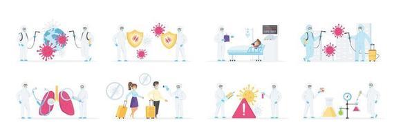 Efforts to combat coronavirus pandemic vector set