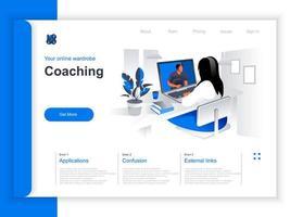 coaching página de aterrizaje isométrica vector