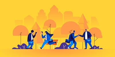 Business people or clerks with briefcases walking vector