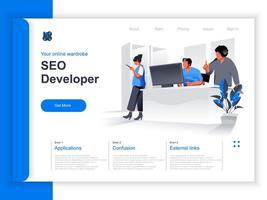 Seo developer isometric landing page