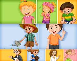 Set of different kid characters on different colors