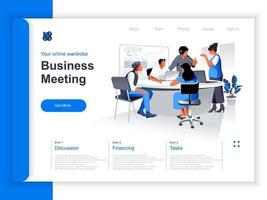 Business meeting isometric landing page