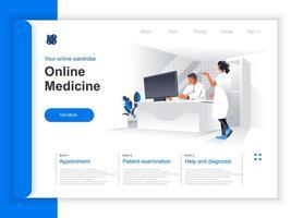 página de inicio isométrica de medicina en línea
