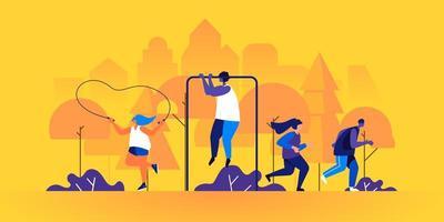 atletas masculinos y femeninos trotando o corriendo vector