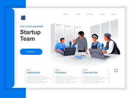Startup team meeting isometric landing page