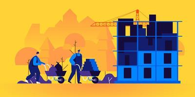 Builders working on construction site vector