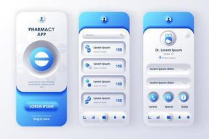 kit de diseño neomórfico único de farmacia en línea vector