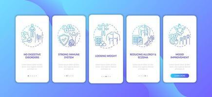 beneficios de los probióticos, pantalla de la página de la aplicación móvil vector