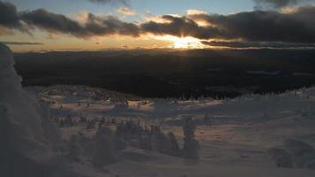 Wintery alpine Sunset at Big White Ski Resort video