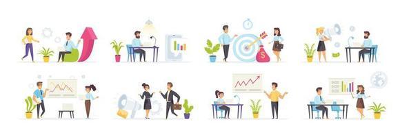 Conjunto de marketing digital con personas en varias escenas. vector