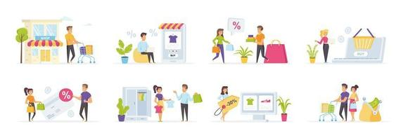 Seasonal shopping set with people in various situations vector