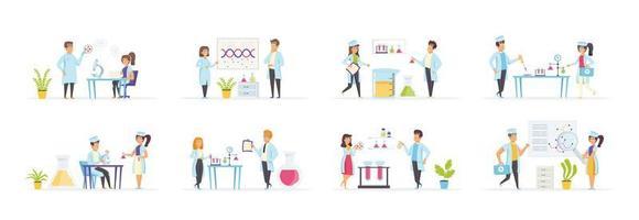 laboratorio médico con personas en varias escenas. vector