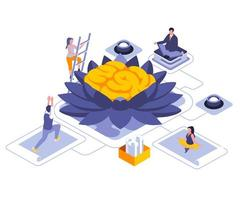 Meditation for mind isometric design