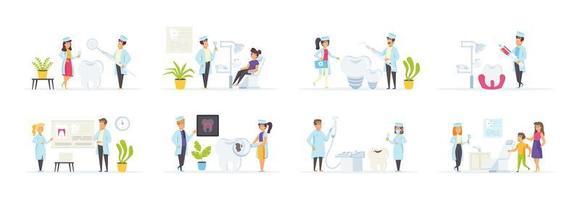Clínica dental ambientada con personajes en varias escenas.
