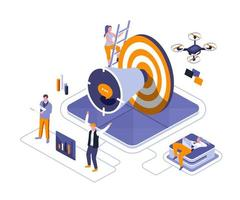 Business promotion isometric design