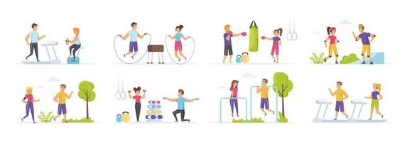 Outdoor fitness set with people in various scenes