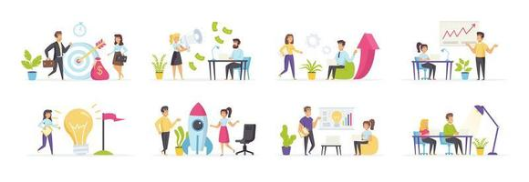 Startup company set with people in various scenes