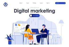 Digital marketing flat landing page design vector