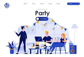 Home party flat landing page design