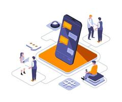 Stay connected isometric design vector