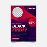 Creative Red and Black Colorful Black Friday Flyer vector
