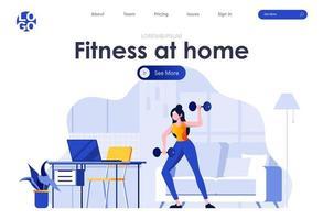 fitness en casa diseño de página de destino plana vector