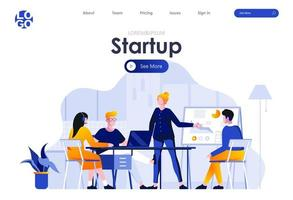 Startup project flat landing page design vector