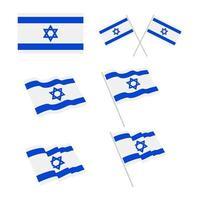 Israel flag design set vector