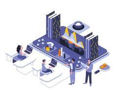 diseño isométrico de análisis de datos vector