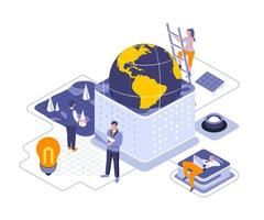 Earth Day isometric design