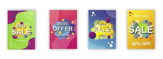 Abstract shapes sale poster social media stories design