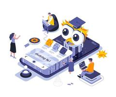 Online studying isometric design vector