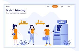 Social distancing at ATM flat landing page vector