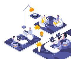 diseño isométrico de la oficina de coworking vector