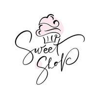 diseño de texto caligráfico de tienda de dulces vector